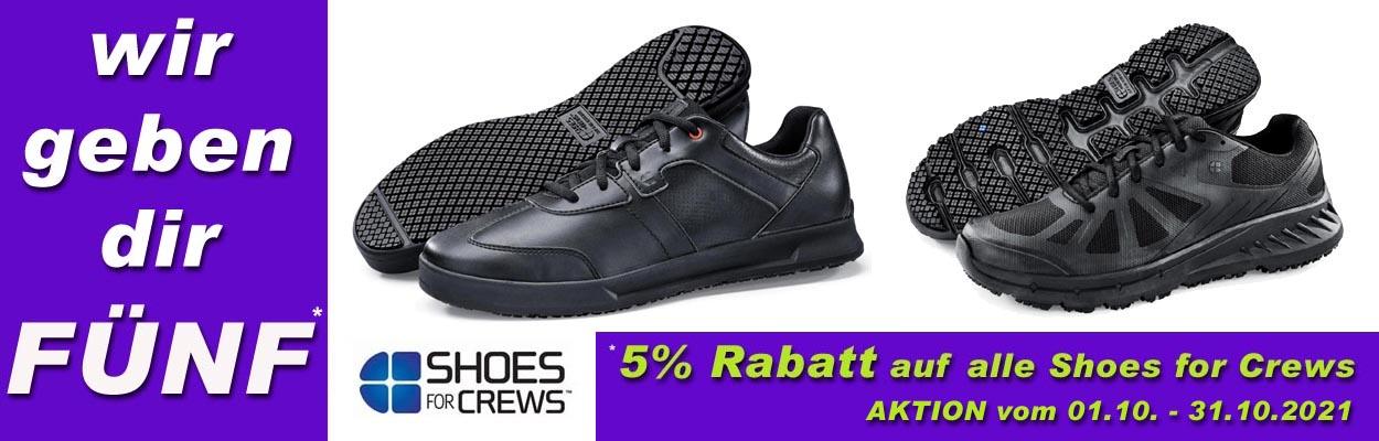 5% Rabatt auf alle Modelle von Shoes for Crews. --Jetzt zugreifen--  (Aktion bis zum 31.10.2021)