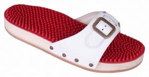 Berkemann Holzsandale 00107-100, Noppen-Sandale mit Massage-Fußbett, weiß