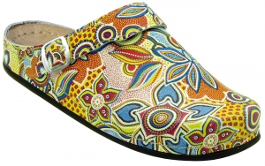 AWC 12052-51, Deko-Line Oriental gelb, Leder-Clogs mit Tief-Fußbett für Praxis, Klinik, Pflege Verkauf und Freizeit