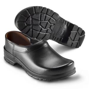 SIKA Comfort 125, rutschfeste Clogs mit Holzfußbett für Beruf und Freizeit, Leder schwarz