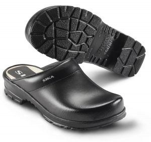 SIKA Comfort 149, rutschfeste Clogs mit Holzfußbett für Beruf und Freizeit, Leder schwarz