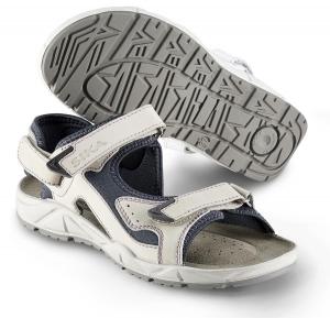 SIKA Motion Lady, Damen Funktions-Sandale 22204 für Beruf und Freizeit. 3x Klett, Leder weiß/blau
