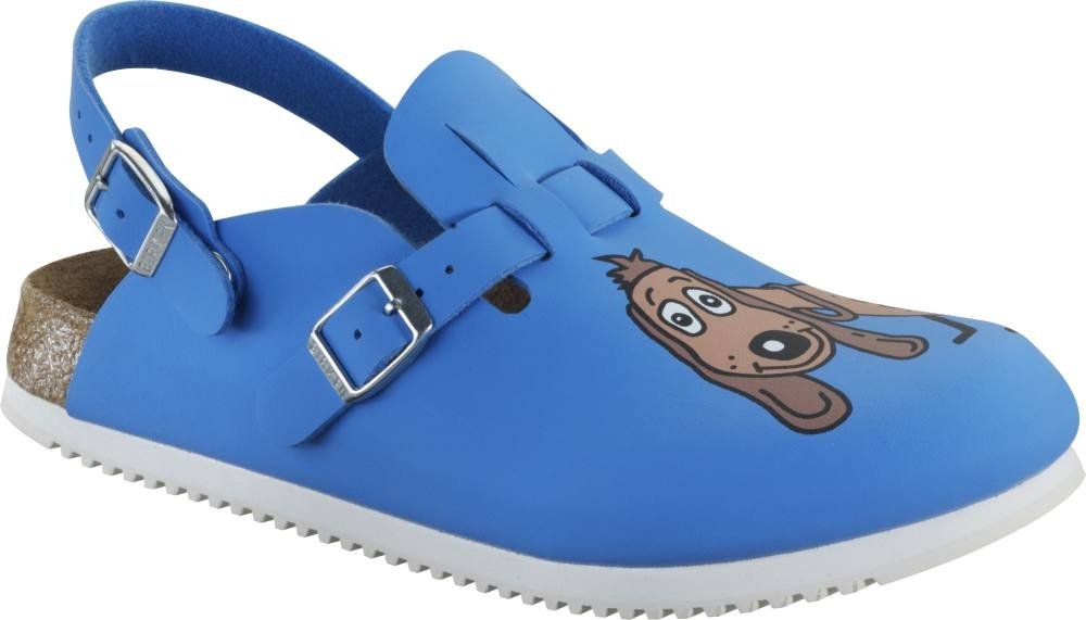 BIRKENSTOCK 582536 Clogs Kay Dog blue, rutschfeste Superlaufsohle, Weichbettung, Birko Flor