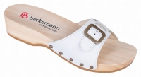 Berkemann Holz-Sandale mit Absatz, 00110-100, Modell Hamburg, Leder weiß