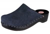 BERKEMANN Holzclogs 00404-396 Velours Toeffler weiches Veloursleder, blau