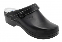 AWC Clogs 10455 Classic , Leder-Clogs mit Absatz für Praxis, Klinik, Pflege Verkauf und Freizeit, schwarz