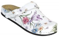 AWC 12052-49, Deko-Line Blumen, Leder-Clogs mit Tief-Fußbett für Praxis, Klinik, Pflege Verkauf und Freizeit
