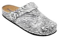 AWC 12052-49, Deko-Line Zebra, Leder-Clogs mit Tief-Fußbett für Praxis, Klinik, Pflege Verkauf und Freizeit