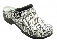 AWC Clogs 12111 Dekoline, Leder-Clogs mit Absatz für Praxis, Klinik, Pflege Verkauf und Freizeit, zebra