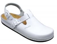 AWC 12146-01, Classic-Line weiß, Leder-Clogs mit Tief-Fußbett für Praxis, Klinik, Pflege Verkauf und Freizeit