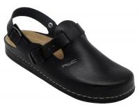 AWC 12146-02, Classic-Line schwarz, Leder-Clogs mit Tief-Fußbett für Praxis, Klinik, Pflege Verkauf und Freizeit