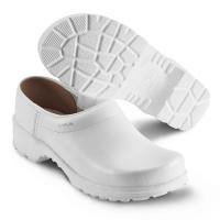 SIKA Comfort 125, rutschfeste Clogs mit Holzfußbett für Beruf und Freizeit, Leder weiß