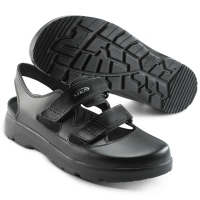 SIKA bequeme Arbeitsschuhe Optimax 173105, Sandale mit Klett ohne Stahlkappe,  Leder schwarz