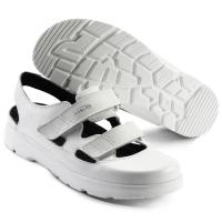 SIKA bequeme Arbeitsschuhe Optimax 173105, Sandale mit Klett ohne Stahlkappe,  Leder weiß