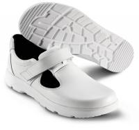 SIKA bequeme Arbeitsschuhe Optimax 173110, Sandale mit Klett ohne Stahlkappe,  Leder weiß