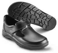 SIKA bequeme Arbeitsschuhe Optimax 173110, Sandale mit Klett ohne Stahlkappe,  Leder schwarz