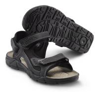 SIKA Motion Lady, Damen Funktions-Sandale 22207 für Beruf und Freizeit. 3x Klett, Leder schwarz