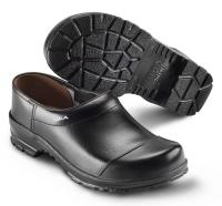 SIKA Comfort 2530, rutschfeste Clogs mit Holzfußbett für Beruf und Freizeit, Überkappe Leder schwarz