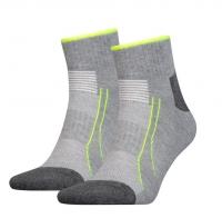 PUMA Sport-Socken Performance Train Quarter, mit Coolmax und Lycra, grey melange, 2er-Pack