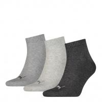 PUMA Socken Unisex Quarter Plain, anthrazit/grey, 3er-Pack