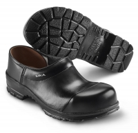 SIKA Comfort 29, Clogs mit Holzfußbett, Stahlkappe S3,  breite Form, Leder schwarz