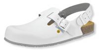 ABEBA ESD Clogs 4040, weiße Berufsschuhe mit rutschhemmender Gummisohle, Korkfußbett