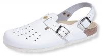 Weeger bequeme Arbeitsschuhe, ESD-Clogs mit Luftpolster-Fußbett, Leder perforiert weiß