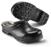 SIKA Comfort 54, offene Clogs mit Holzfußbett, Stahlkappe SB,  breite Form, Leder schwarz