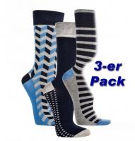 Herren-Socken Jeans-Trend modisches Motiv 3er-Bündel