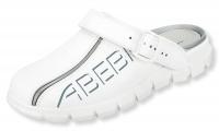 ABEBA rutschfeste Clogs 7310, weiße Berufsschuhe mit Fersenriemen, Leder