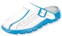 ABEBA rutschfeste Clogs 7312, weiße Berufsschuhe mit Fersenriemen, Leder