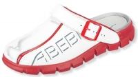 ABEBA rutschfeste Clogs 7313, weiße Berufsschuhe mit Fersenriemen, Leder