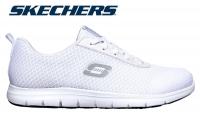 SKECHERS weiße Berufsschuhe Ghenter - Bronaugh SR 77210, work relaxed fit, rutschfeste Damen-Arbeitsschuhe