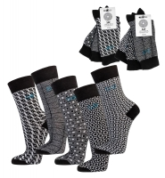 Herren-Socken Labyrinth grafisches Motiv schwarz-weiß 3er-Bündel
